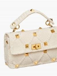 VALENTINO GARAVANI Roman Stud small knitted shoulder bag ~ white top handle flap bags ~ studded handbag