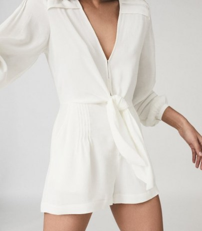 REISS ROSE WIDE SLEEVE PLAYSUIT WHITE / chic playsuits - flipped