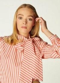L.K. BENNETT RUBY STRIPED COTTON TIE NECK BLOUSE SALMON / candy striped blouses