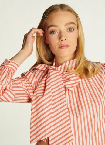 L.K. BENNETT RUBY STRIPED COTTON TIE NECK BLOUSE SALMON / candy striped blouses - flipped