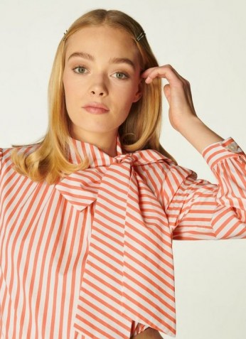 L.K. BENNETT RUBY STRIPED COTTON TIE NECK BLOUSE SALMON / candy striped blouses