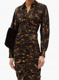 GANNI Ruched horse-print silk-blend satin shirt dress – gathered front dresses
