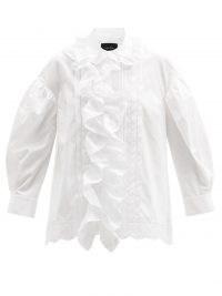 SIMONE ROCHA Ruffled cotton-poplin blouse – whiter oversized collar blouses – ruffle trim