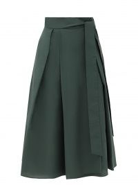 WEEKEND MAX MARA Sacha skirt ~ dark-green flared hem midi skirts