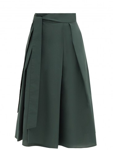 WEEKEND MAX MARA Sacha skirt ~ dark-green flared hem midi skirts - flipped