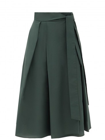WEEKEND MAX MARA Sacha skirt ~ dark-green flared hem midi skirts