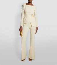 SAFIYAA Embellished Lara Top in Cream ~ chic long sleeve asymmetric tops