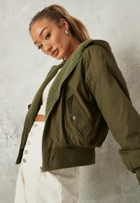 Missguided sage borg lined zip through bomber jacket | green weekend jackets