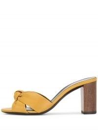 Saint Laurent Bianca 75mm yellow-leather mules ~ front knot slip on sandals