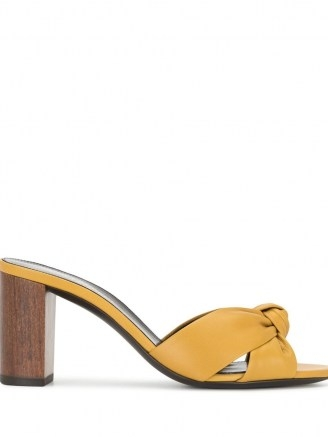 Saint Laurent Bianca 75mm yellow-leather mules ~ front knot slip on sandals - flipped