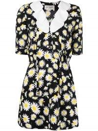 Saint Laurent petal collar daisy sablé mini dress – floral print dresses – daisies