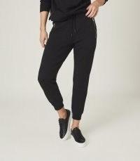 REISS SALMA LOUNGEWEAR JOGGERS WITH ZIP DETAIL BLACK / lounge pants