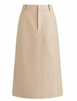 JOSEPH Nappa Leather Salva Skirt in Mastic ~ luxe A-line midi skirts - flipped
