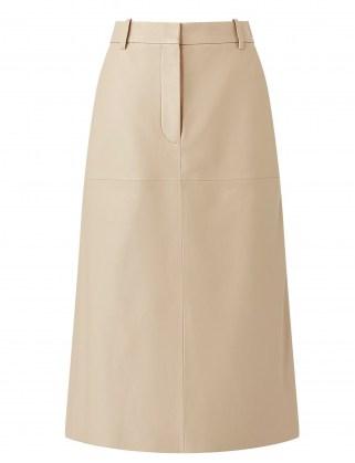 JOSEPH Nappa Leather Salva Skirt in Mastic ~ luxe A-line midi skirts