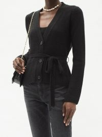 BROCK COLLECTION Samira waist-tie cashmere cardigan in black ~ V-neck button-up front cardigans