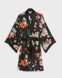 TED BAKER DOWLIE Sandlewood scallop trim sleeve kimono / floral nightwear robes