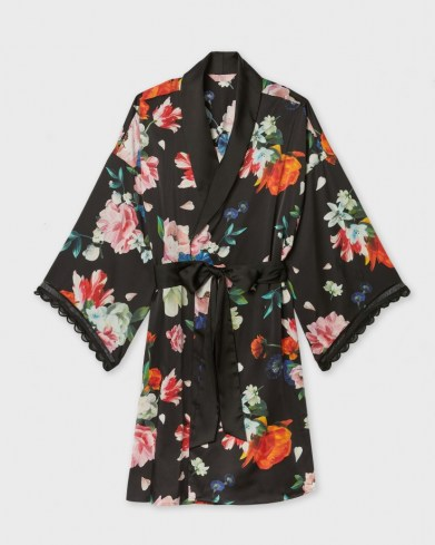 TED BAKER DOWLIE Sandlewood scallop trim sleeve kimono / floral nightwear robes - flipped