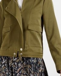 TED BAKER FARICA Satin utility jacket in Olive ~ green short length utility jackets