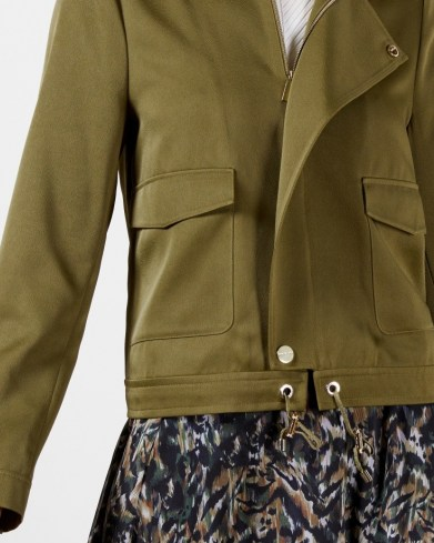TED BAKER FARICA Satin utility jacket in Olive ~ green short length utility jackets - flipped