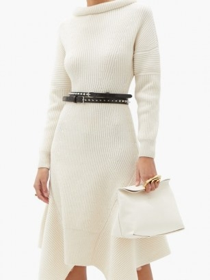 ALEXANDER MCQUEEN Sculptural four-ring leather clutch in ivory - flipped