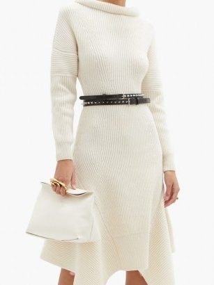 ALEXANDER MCQUEEN Sculptural four-ring leather clutch in ivory