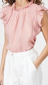 Sea Hattie Ramie Flutter Sleeve Top / pink ruffle trim tops