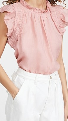 Sea Hattie Ramie Flutter Sleeve Top / pink ruffle trim tops - flipped