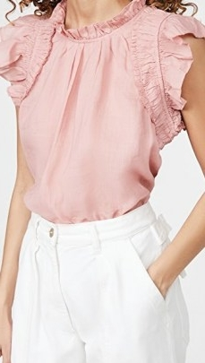 Sea Hattie Ramie Flutter Sleeve Top / pink ruffle trim tops