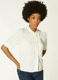 L.K. BENNETT SHRIMPTON CREAM CREPE BLOUSE / pleated short sleeve blouses / everyday luxe / wardrobe essentials