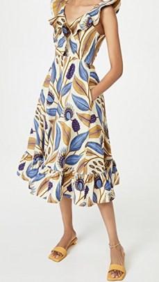 SIKA V Neck Dress Ivory Leaf / ruffle trim spring dresses for 2021 - flipped