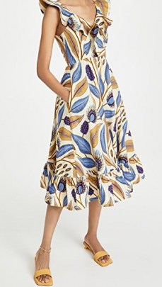SIKA V Neck Dress Ivory Leaf / ruffle trim spring dresses for 2021