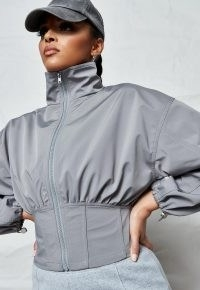 Missguided silver corset waist technical jacket | on-trend jackets