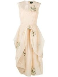 Simone Rocha embroidered tulle-overlay dress – draped romantic style dresses – luxe fashion
