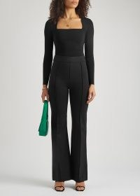 SPANX Black stretch-jersey flared-leg trousers | perfect fit flares | sculpted | seamed