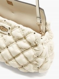 VALENTINO GARAVANI SpikeMe medium quilted-leather cross-body bag ~ luxe cream crossbody ~ studded flap bags