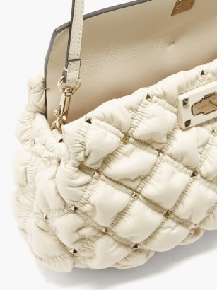 VALENTINO GARAVANI SpikeMe medium quilted-leather cross-body bag ~ luxe cream crossbody ~ studded flap bags - flipped