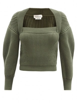 ALEXANDER MCQUEEN Square-neck ribbed green cotton sweater ~ crop hem sweaters with puff sleeves - flipped