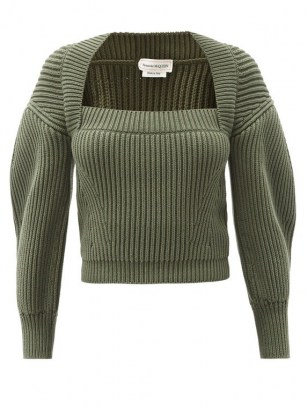 ALEXANDER MCQUEEN Square-neck ribbed green cotton sweater ~ crop hem sweaters with puff sleeves