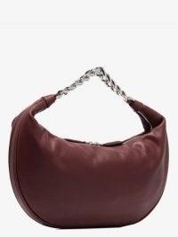 STAUD Red Sasha Leather Shoulder Bag ~ silver tone chain handle bags