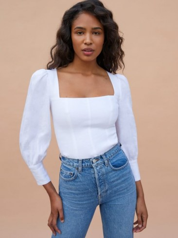 REFORMATION Stilton Top ~ white puff sleeve square neck tops ~ fitted bodice