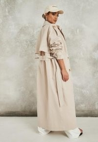 Missguided stone belted maxi trench | long coats