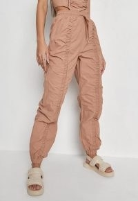 MISSGUIDED stone co ord ruched channel joggers – gathered jogging bottoms