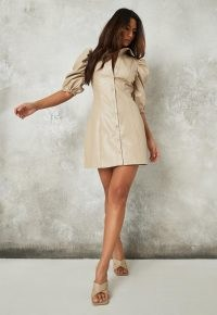 Missguided stone faux leather puff sleeve shirt dress – neutral puff sleeve front button-up dresses