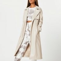 River Island Stone faux leather trench coat – neutral open front coats