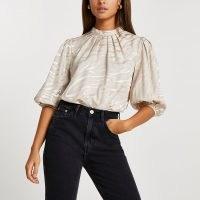 River Island Stone high neck animal print blouse top – balloon sleeve tops