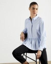 TED BAKER OLLWEN Stripe Cotton Shirt – frill hem shirts – casual and feminine fashion