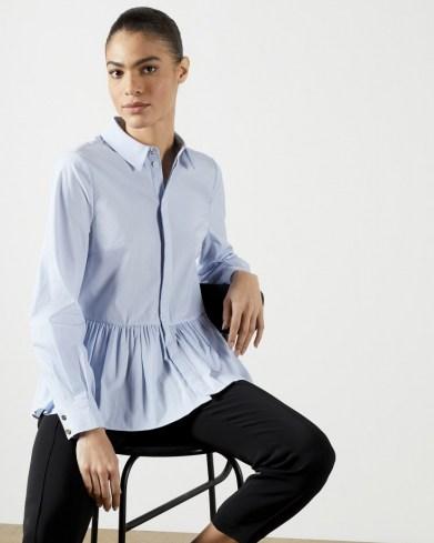 TED BAKER OLLWEN Stripe Cotton Shirt – frill hem shirts – casual and feminine fashion - flipped