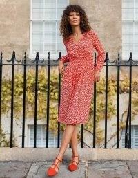 BODEN Susannah Smocked Dress – Cherry Red, Berry Branch / fruit print dresses / berries