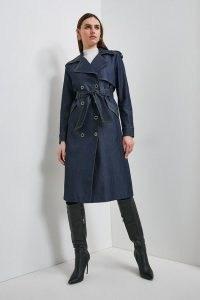 Karen Millen Tailored Denim Trench Coat   modern classics   chic coats