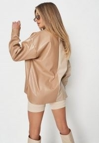 Missguided tall toffee faux leather contrast button shirt – tonal brown shirts – colour block trend